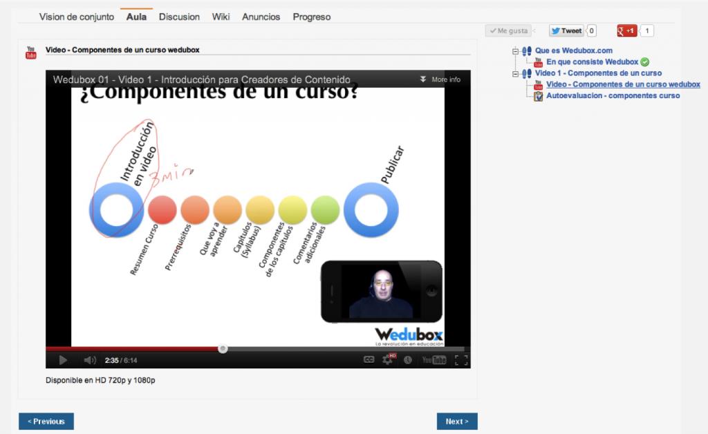Interfaz principal wedubox - basada en Udacity. El foco es el contenido