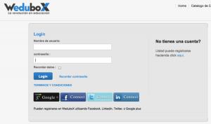WeduboX - Login usando facebook, twitter, linkedin o google plus