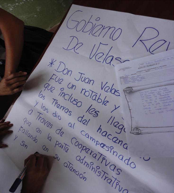 """En esta imagen se aprecia la elaboración de una Décima creada sobre el tema """"Gobierno revolucionario de Juan Velasco Alvarado""""."""